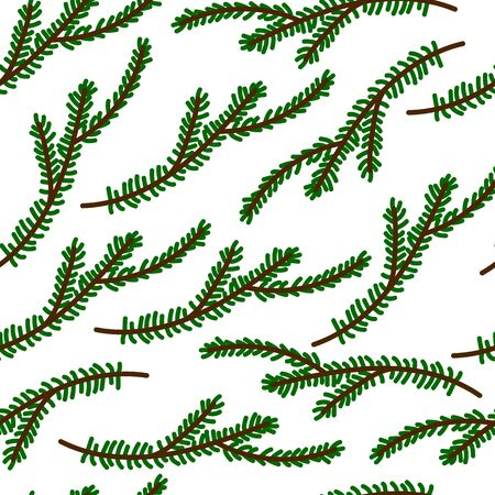Seamless winter holiday pattern. Christmas tree branches isolated on a white background. Cute decorative green twig in Scandinavian style. Festive decoration element for Christmas and New Year Illustration