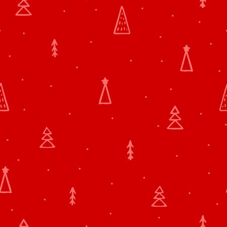 Seamless vector New Year abstract pattern. Hand-drawn pink outline Christmas trees isolated on red background. Holiday fir-trees illustration for wallpapers, posters, wrapping paper, posters, cards Illustration