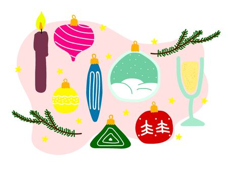 Vector New Year illustration. Christmas tree branches, balls, toys, candles, champagne, prosecco, stars on a neutral liquid background. Set of festive winter symbols isolated on white background 일러스트