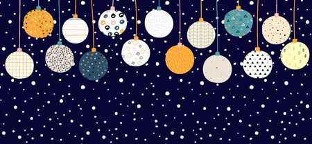 New Year vector color banner with place for your text. Christmas balls with Scandinavian ornaments on a snow background. Bright festive cute stock illustration with decorative elements. Copy space