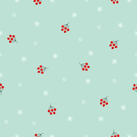 Seamless winter pattern. Random White snowflakes and red berries on blue background. Minimalistic Vector holiday illustration for wallpapers, wrapping paper, textile. Christmas and New Year Ornament