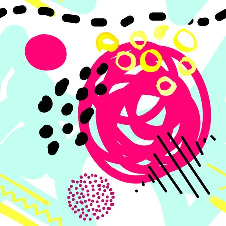 Seamless vector scandinavian pattern. Blue, pink, black balls, stars, dots, spots, stripes on a white background. Bright messy line art. Cute tangled stock illustration with yellow watercolor elements