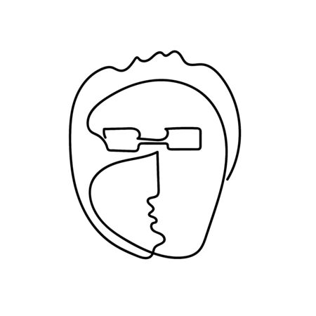 Outline man Face drawn by a continuous line isolated on a white background. Line art portrait of a man with stylish haircut and glasses. Minimalist graphic vector illustration of a character young man