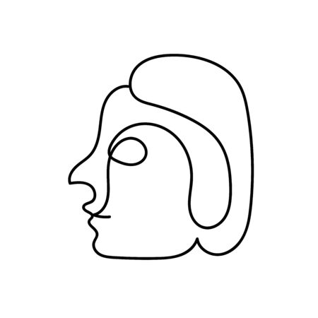 Woman face outline drawing by a continuous line isolated on a white background. Line art portrait of a man with a short hair style. Minimalist graphic vector stock illustration elegant girl character