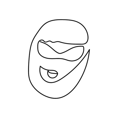 Outline Woman face drawn by a continuous line isolated on white background. Line art portrait of a man with a haircut, glasses, lips. Minimalist graphic vector stock illustration glamor girl character Illustration