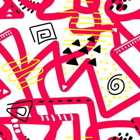 Seamless vector Scandinavian pattern. Pink tangled lines with white and black dots, strokes, lines, triangles, zigzags, circles on a white background. Messy ornament for wrapping paper, textile, cards