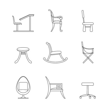 Set of line icons Chairs. Different options for chairs and armchairs. Black outline of interior items isolated on a white background. Computer, children, camping, school, rocking, egg chairs, stool