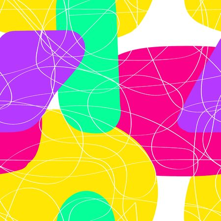 Seamless vector bright pattern. White tangled line art on a background of yellow, pink, blue liquid spots. Colored stock illustration for wallpaper, wrapping paper, posters, cards. 60s, 70s, 80s style