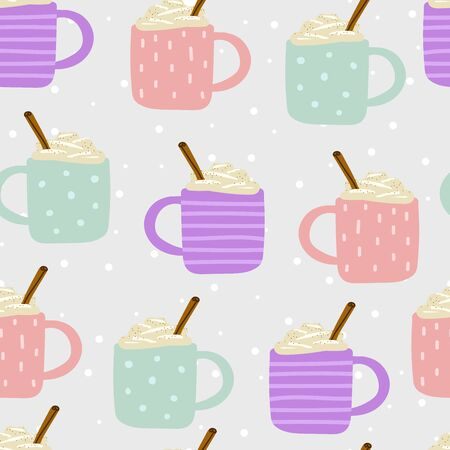 Seamless Cute Scandinavian vector pattern. A pink cups with ornament is filled with hot drink, foam, cream, cinnamon. Eggnog, coffee, cocoa, chocolate, milk on snow background. Winter holidays element