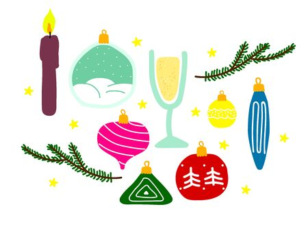 Set of New Year symbols isolated on a white background. Vector Christmas balls, candles, tree branches, champagne, prosecco, stars, snowball. Festive hand-drawn stock collection for winter holidays Illustration