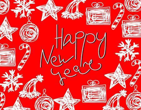 Vector Happy New Year frame with lettering or place for text. White Tangled text and decorative elements for winter holidays on red background. Christmas messy balls, candies, gifts, snowflakes