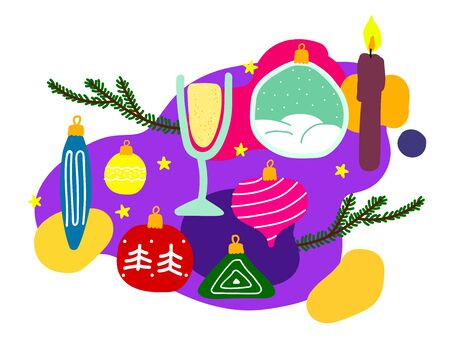 Vector New Year illustration. Christmas tree branches, balls, toys, candles, champagne, prosecco, stars on a multicolor liquid background. Set of festive winter symbols isolated on white background 일러스트