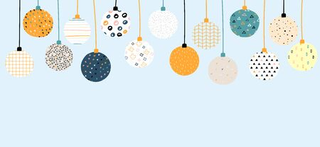 New Year vector color banner with place for your text. Christmas balls with Scandinavian ornaments on a blue background. Bright festive cute stock illustration with decorative elements. Copy space