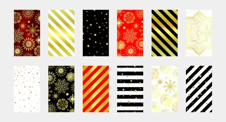 Trendy vector Winter vibe templates for posts and social networks stories. Set of Christmas backgrounds for social media. Gold snowflakes, stripes, glitter. New Year stock illustrations for phones