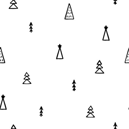 Seamless vector New Year pattern. Hand-drawn black outline Christmas trees isolated on white background. Holiday fir-trees illustration for wallpapers, posters, wrapping paper, posters, cards