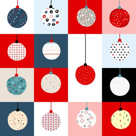 New Year vector color seamless pattern. Christmas balls with Scandinavian ornaments on a squares background. Bright festive cute stock illustration with decorative elements Snowflakes, dots, stripes Illustration
