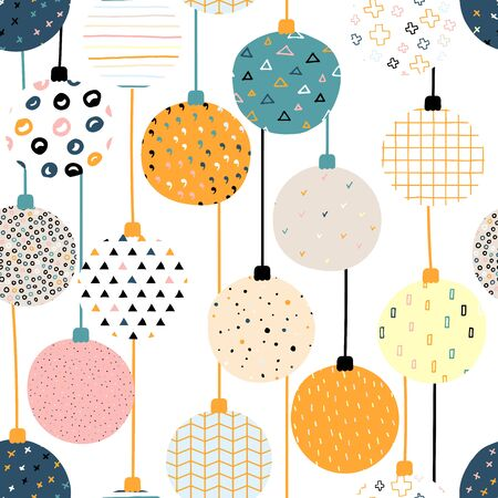 New Year vector color seamless pattern. Christmas balls with Scandinavian ornaments on a white background. Bright festive cute stock illustration with decorative elements Snowflakes, dots, stripes
