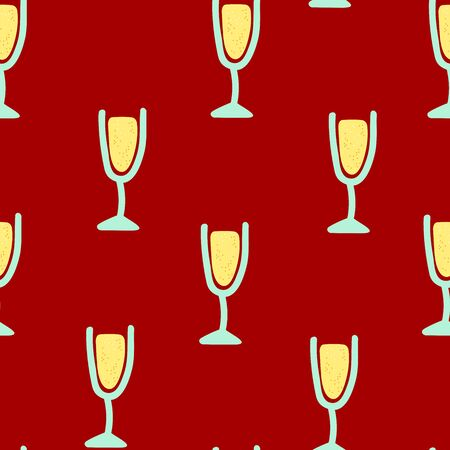 Seamless pattern Glass with prosecco or champagne. Celebratory drink in cute style on red background. Wine glass for the festive decoration of the New Year, Christmas, Birthday and other holidays