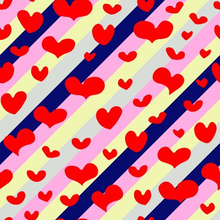 Seamless vector pattern of hand-drawn red hearts on diagonal repeating unicorn colors stripes background. Valentines Day February 14 Festive Element. Cute holiday symbol of Love, weddings, romantic Illustration