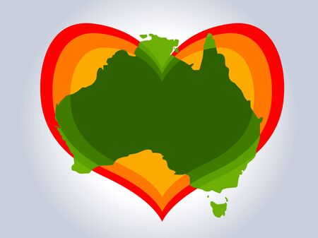 Save Australia vector illustration. Australia continent green silhouette with red gradient heart on gray background. A sign of support for charitable and rescue operations after fires in Australia Illustration