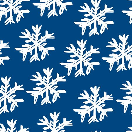 Seamless vector winter pattern. White hand drawn snowflakes on a classic blue background. Line art illustration for Snow day, textile, wallpapers, posters, wrapping paper. Tangled messy line snowflake