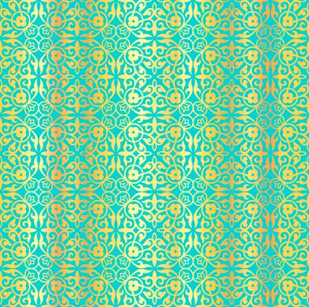 Seamless vector golden pattern. Golden curls, weave, flowers on a blue background. Bright luminous ornament in the Arabic style for wallpaper, textile, wrapping paper, posters. Decorative illustration