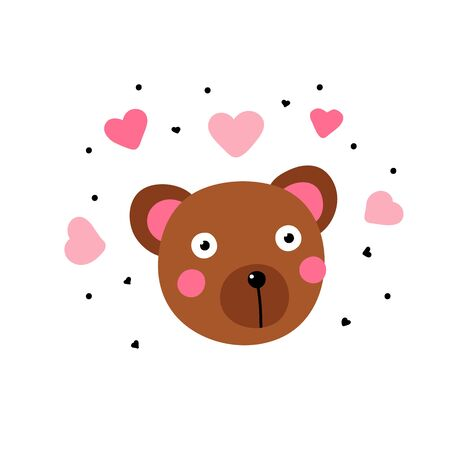 Kawaii bear in love. Cute brown teddy bear with big eyes and pink hearts around isoded on a white background. Minimalistic surprised character - vector illustration, sticker, postcard, childish design Illustration