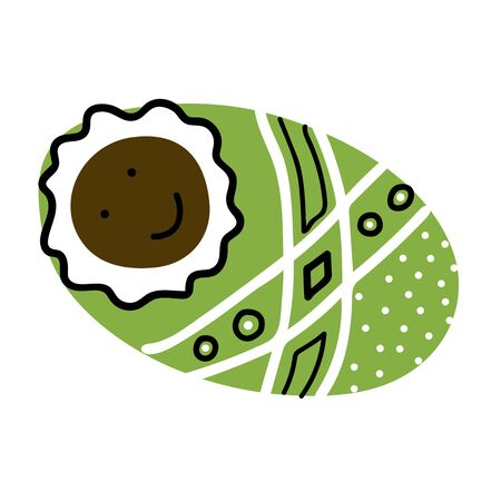 Vector cute Scandinavian childrens doodle. African American Baby in Cozy green blanket with ornament Isolated on white background. Kawaii Smiling character wrapped in diapers. Newborn boy or girl Illustration