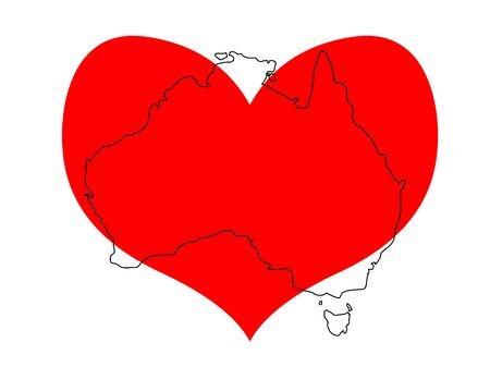 Save Australia vector illustration. Outline continent Australia with a red heart isolated on white background. Support sign for volunteer, charity, or rescue work after fires and fires in Australia Illustration