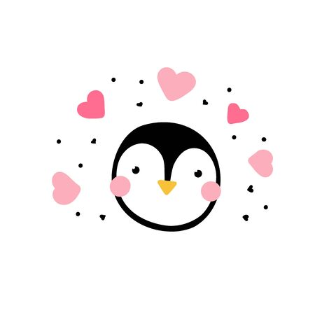 penguin in love. Cute bird with eyes and pink hearts around isolated on a white background. Minimalistic surprised character - vector illustration, stickers, cards, childish design. Penguin day