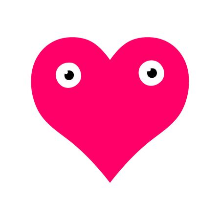 Vector pink symmetric heart isolated on white background. Cute character with big eyes. Heart with a surprised face for weddings, prints, t-shirts, Valentines day. A sign of love, romance, feelings Ilustração
