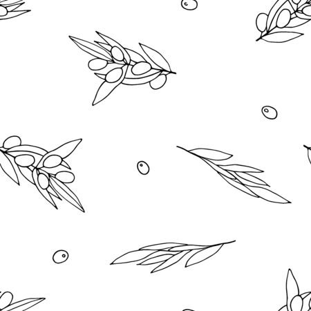 Seamless black and white pattern Olives. Outline olive branches isolated on white background. Randomly arranged Berries and olive leaves. Vector stock illustration for packaging, wallpaper, textile