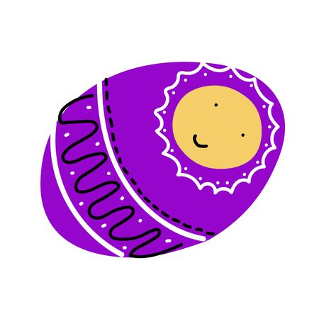 Vector cute childrens scandinavian doodle. Baby in purple blanket with black-white ornament. Isolated on white background. Kawaii Smiling character wrapped in diapers. Newborn boy or girl. Baby shower