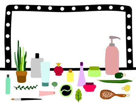 Scandinavian vector bathroom interior. Cosmetics on the table in the dressing room. Hand-drawn illustration with plants, cosmetics and make-up on the mirror with light bulbs background. Copy space