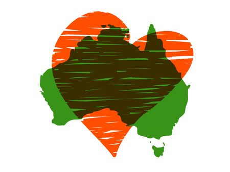 Save Australia vector illustration. Australia continent green silhouette with red heart isolated on white background. A sign of support for charitable and rescue operations after fires in Australia Ilustração