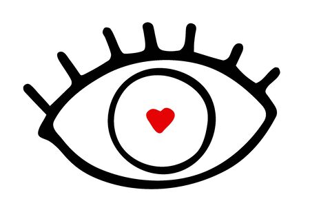 Hand-drawn black outline eye with eyelashes isolated on white background. Loving look with a red heart shaped pupil. Symbol of love, romance, Valentines Day, wedding, feelings. Vector illustration
