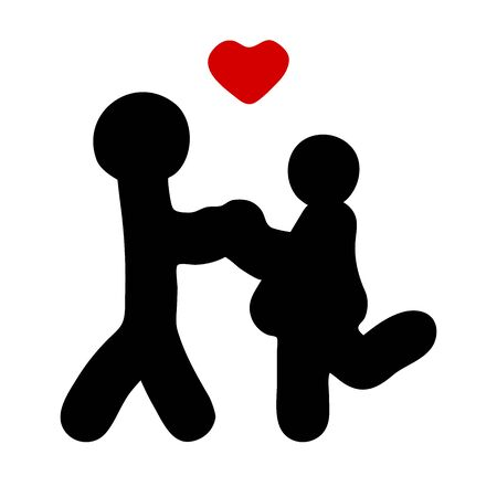 Black vector silhouette of people in love. Man and woman hold hands. Hand-drawn stylized characters with a red heart. Loving girl, guy isolated on white background. Valentines Day, weddings, bathroom Illustration