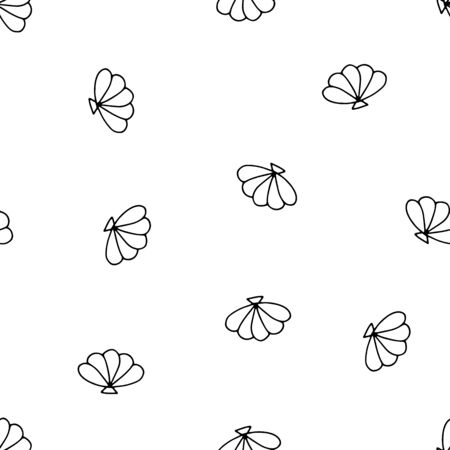 Seashells seamless vector summer pattern. Black outline sea shells isolated on a white background. Illustration with random shells for wallpaper, wrapping paper, textiles, summer decoration, clothes