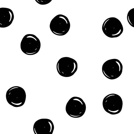 Seamless Scandinavian tangled pattern. Black outline messy hand-drawn circles isolated on a white background. Neutral dots ornament. Vector stock illustration for wallpaper, wrapping paper, textiles