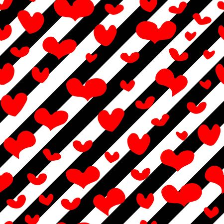 Seamless vector pattern of hand-drawn red hearts on diagonal repeating black and white stripes background. Valentines Day February 14 Festive Element. Cute holiday symbol of Love, weddings, romantic