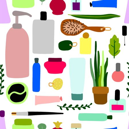 Seamless scandinavian vector pattern. Hand-drawn cosmetics, makeup and plants isolated on white background. Cute illustration for beauty salons, womens day, textile, wrapping paper. Personal care