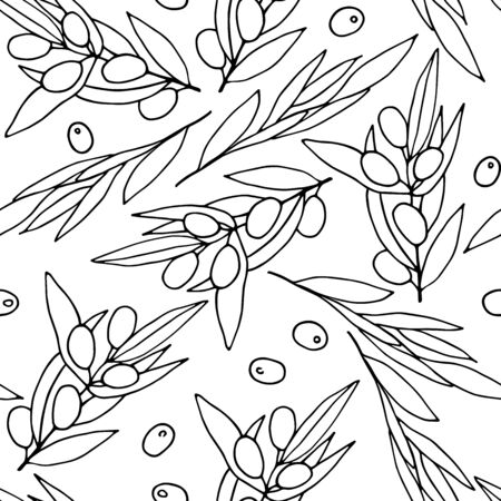 Seamless black and white pattern Olives. Outline olive branches isolated on white background. Randomly arranged Berries and olive leaves. Vector illustration for packaging, wrapping paper, textile