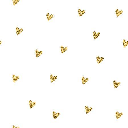 Seamless brilliant glitter pattern. Gold shiny Sparkles isolated on white background. Sparkling hearts random festive confetti. Trendy Vector stock illustration for holidays, Valentines Day, weddings Illustration