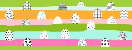 Happy Easter banner. Easter eggs painted with black and white Scandinavian ornaments on color background. Festive Landscape with hidden Polka dot, stripes, crosses eggs. Cute Easter spring Symbols