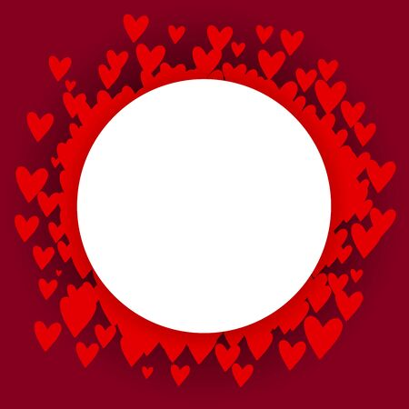 Vector frame with hearts and place for text. Red hearts arranged in a circle on a burgundy background with shadows. White background for holidays, weddings, Valentines Day. Valentine paper cut heart