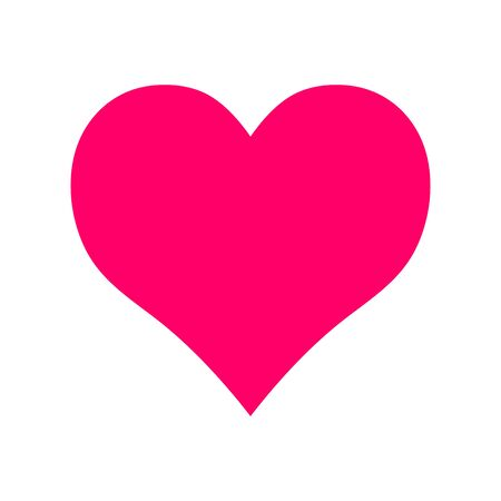 Vector pink symmetric heart isolated on a white background. Minimalistic illustration for weddings, prints, t-shirts, Valentines Day. Sign of love, romance, feelings, relationships. Valentine card