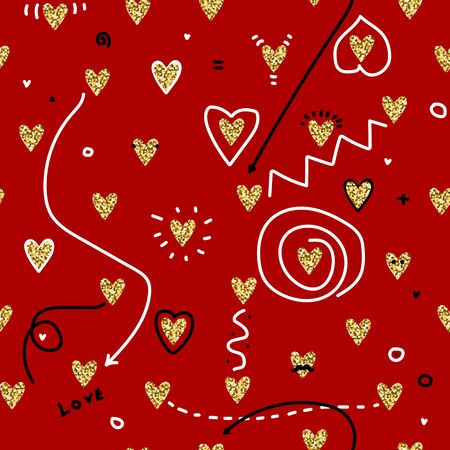 Zin culture seamless vector pattern. Collage with gold glitter hearts, black and white details. Hearts, stripes, arrows, dotted, mustache, points on a red background. Poster for St. Valentines Day