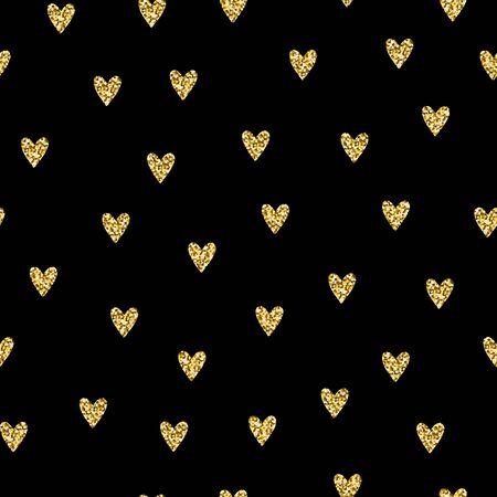 Seamless brilliant glitter pattern. Gold shiny Sparkles isolated on black background. Sparkling hearts random festive confetti. Trendy Vector stock illustration for holidays, Valentines Day, weddings