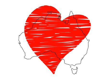 Save Australia vector stock illustration. Outline continent Australia with a red sketch heart isolated on white background. Support sign for volunteer, charity, or rescue work after fires in Australia Ilustração