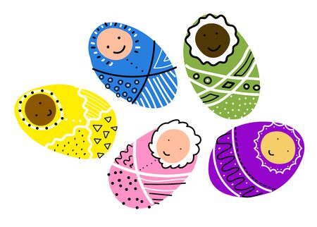 Set of vector cute scandinavian childrens doodles. Baby in a blanket with black and white ornament isolated on white background. Kawaii Smiling character. Newborn boy or girl. Baby shower, Easter Illustration